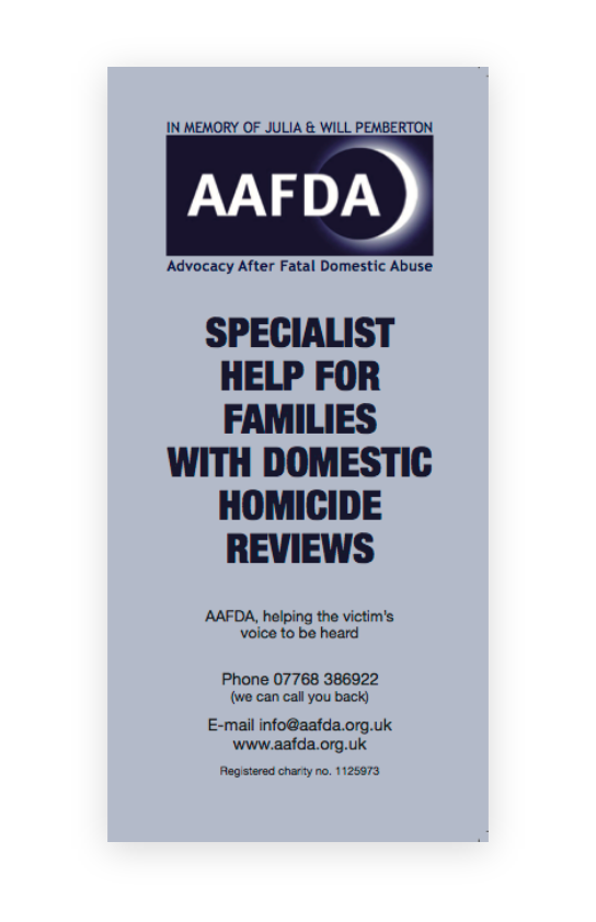 Helping Families with Domestic Homicide Reviews leaflet – English version