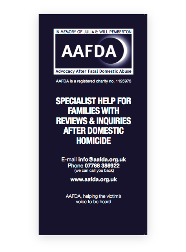 Specialist Help for Families with Reviews & Inquiries after Domestic Homicide leaflet